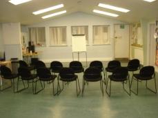 Hall interior and facilities. Presentation space.